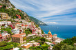 Quadro view on town Positano on Amalfi coast, Campania, Italy