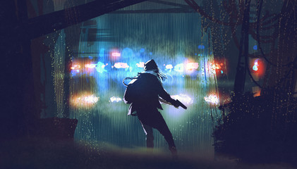 scene of the thief with the gun being caught by police car light at rainy night with digital art style, illustration painting © grandfailure