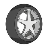Wheel with a tire cover for the car.Car single icon in cartoon style vector symbol stock illustration web.