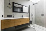 Modern bathroom with shower - 158408032