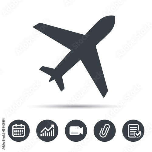 Plane Icon Flight Transport Symbol Calendar Chart And Checklist