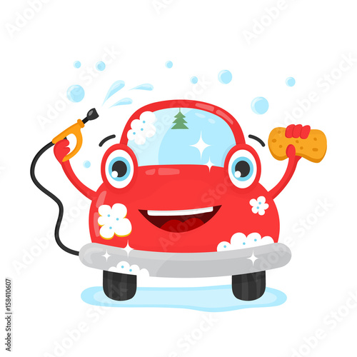 Fotobehang Auto Happy cute fun clear car with hose and washcloth. Vector flat modern style illustration character icon design. Isolated on white background. Car wash services, auto cleaning, self-service concept