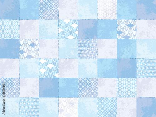 チェック カラフル パターン 水色