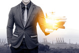 Smart logistic technology , internet of things , industry 4.0 and supply chain concept. Double exposure of man suit with airplane ,drone,truck,Cargo ship , shipyard and container on his hand. - 158415068