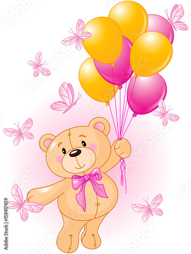 Tuinposter Sprookjeswereld Girl Teddy Bear