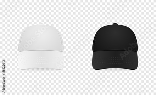 White And Black Baseball Cap Icon Set Front View Design Template Closeup In Vector