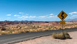 Curved Road Sign in Desert Panorama. Nevada, Valley Of Fire