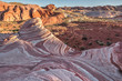 Fire Wave Stone Formation at Sunset Rays. Nevada, Valley Of Fire