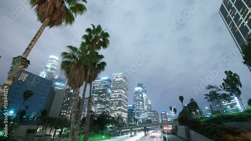LA Downtown Skyscrapers Freeway Traffic 13 Time Lapse Pam Trees
