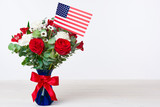 Beautiful bouquet with american flag on white background - 158443814