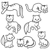 Black and white cartoon cats collection.