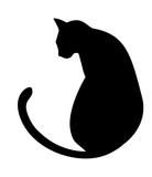 Black cat silhouette on a white background