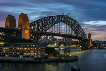 Famous Sydney landmark Sydney Harbour Bridge at night