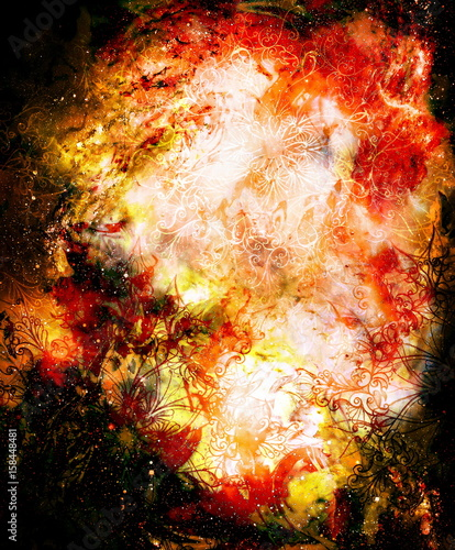 ornamental mandala in cosmic space, Fire effect.