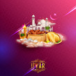 Iftar party invitation greeting with mosque for Islam religious festival Eid on holy month of Ramadan
