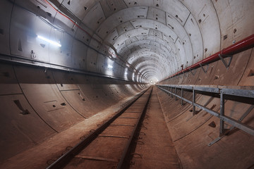 Construction of subway tunnel with white light