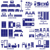 Furniture and home equipment related vector silhouette icons set - 158457896
