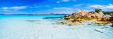 Fototapety Clear amazing azure coloured sea water with gtanote rocks in Capriccioli beach, Sardinia, Italy