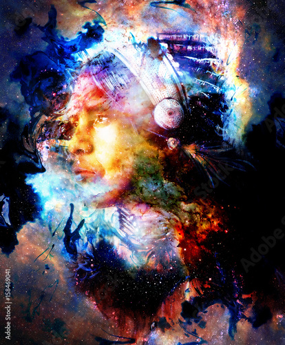 Beautiful young indian warrior in cosmic space. Painting collage. Fire effect.