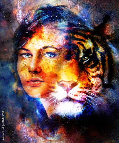 Goodnes woman and tiger and ornament. Cosmic Space background.