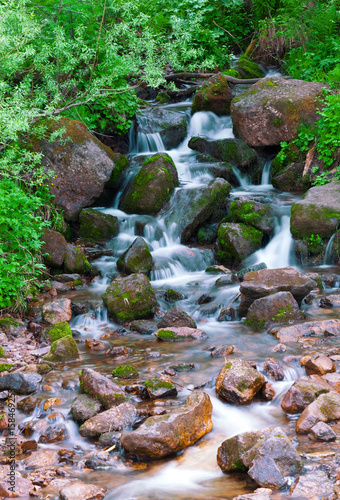 mountain river. fast stream water. Russia Ural - 158469253