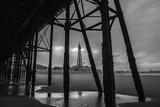 Blackpool pleasure beach pier black and white