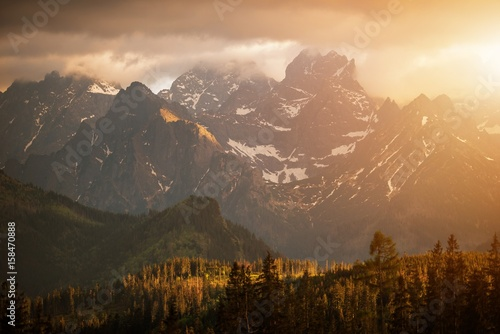 Mountains Sunset Scenery Poster