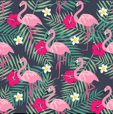 Tropical trendy seamless pattern with pink flamingo, pineapples, tropical leafs. Beach background. Tropical paradise - 158473866