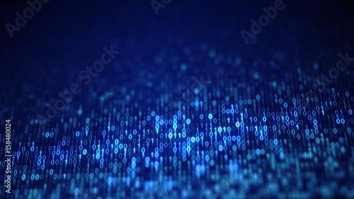 Blue digital binary data code on screen