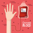 Hand and blood unit with donate blood sign over red background vector illustration