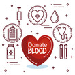 Red heart with donate blood sign and healthcare related items stickers over white background vector illustration
