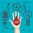 Hand holding a red drop with donate blood sign and healthcare related objects sticker over teal background vector illustration