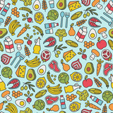 seamless pattern with healthy food design elements - 158484617
