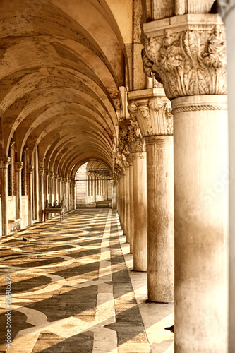 arcade of Doge's palace in Venice, Italy.
