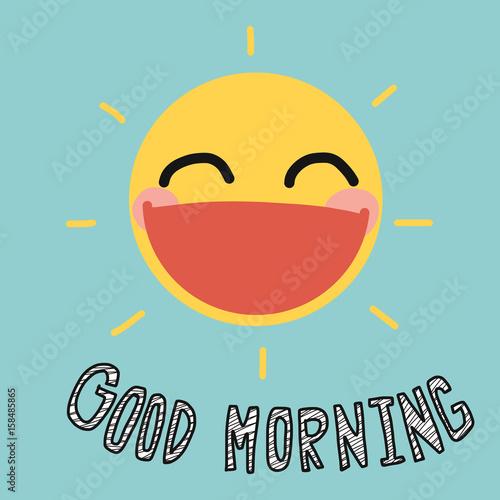 Good morning sun smile cute vector illustration