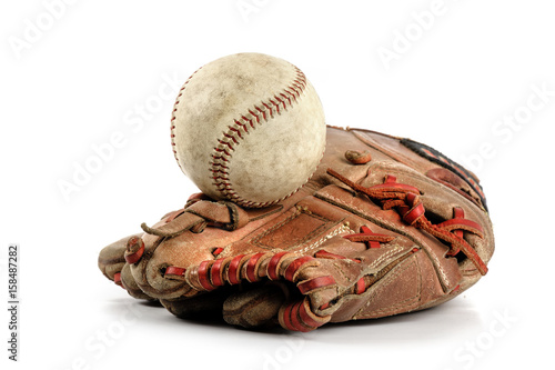 baseball glove over white Poster