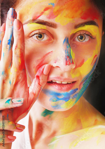 Bright beautiful girl with art colorful make-up Poster