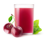 Isolated fruit drink. Glass of cherry juice and two berries isolated on white background with clipping path