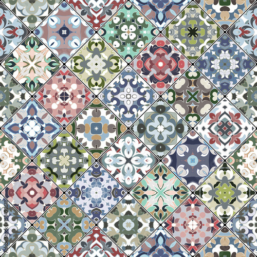 Collection of seamless square ornaments - 158498618