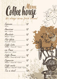 vector menu with price list, old coffee mill and inscriptions coffee house on the background of manuscript with splashes and stains in retro style - 158498896