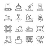 Manufacturing line icon set. Included the icons as process, production, factory, packing and more. - 158507671