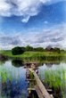 Oil landscape painting, digital art