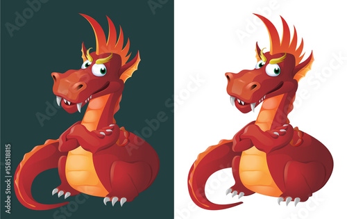 Red Dragon. Absolutely self-sufficient. Cartoon styled vector illustration. On dark background and isolated on white.