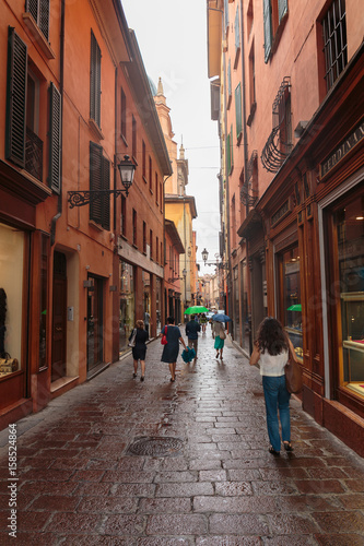 Poster Smal steegje General view of the downtown streets Bologna italy