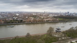 Aerial shot of Peace Pagoda in Battersea Park with a view of river Thames in London - 158525435