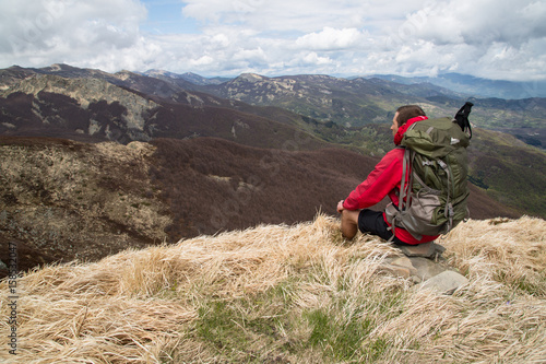 Poster Mountain hiker, Panorama, Lago Paduli, Parco nazionale dell'Appennino Tosco-Emil