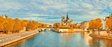 View of Notre Dame de Paris and Seine river in Autumn
