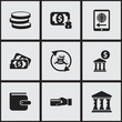 Set Of 9 Editable Investment Icons. Includes Symbols Such As Money Flow, Court House, Academy And More. Can Be Used For Web, Mobile, UI And Infographic Design.