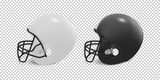 Realistic classic american football helmet set - black and white color. Isolated on transparent background. Side view. Design template closeup in vector. Mock-up for branding and advertise.