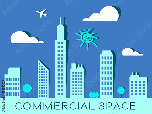 Commercial Space Represents Real Estate Buildings 3d Illustration